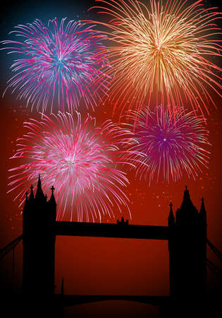 Happy New Year fireworks London city with Thames bridge night scene with transparencies layered for easy manipulation and customisation