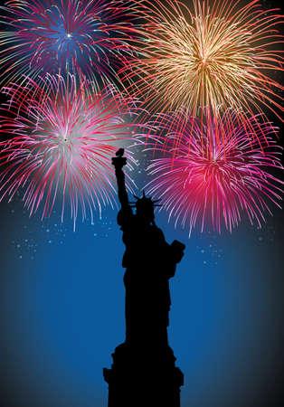 newyear: Feliz A�o Nuevo fuegos artificiales ciudad de Nueva York con la escena de la Libertad estatua noche silueta con transparencias en capas para una f�cil manipulaci�n y personalizaci�n Vectores