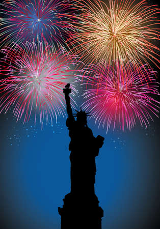 Happy New Year fireworks New York city with Liberty statue silhouette night scene with transparencies layered for easy manipulation and customization