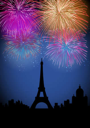 Happy New Year fireworks Paris with Eiffel tower silhouette night scene with transparencies layered for easy manipulation and customisation  Illustration