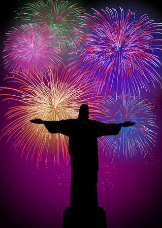 christian festival: Happy New Year fireworks Rio de janeiro city with christ the redeemer silhouette night scene with transparencies  layered for easy manipulation and customisation