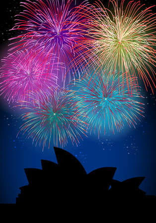 Happy New Year fireworks Sidney city night Opera House silhouette scene with transparency file layered for easy manipulation and customisation  Vector