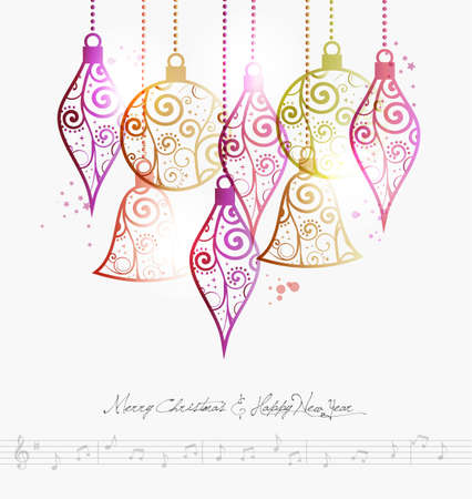modern christmas baubles: Contemporary Merry Christmas baubles and music note background illustration with transparencies layered for easy manipulation and custom coloring