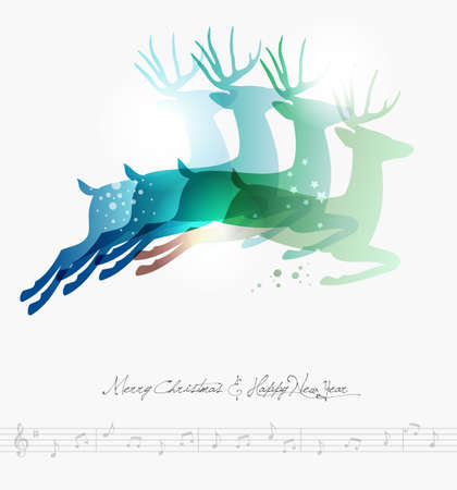 transparency: Contemporary Merry Christmas jumping deers transparency background with transparencies layered for easy manipulation and custom coloring