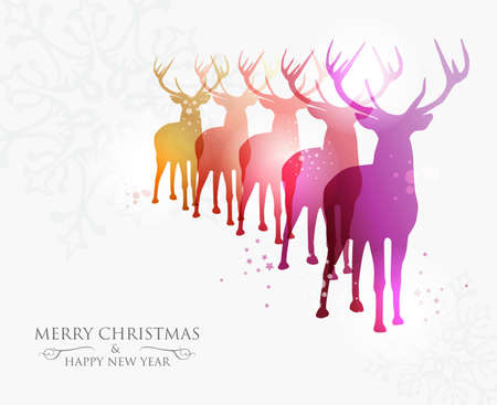 Contemporary Merry Christmas snowflakes and deers transparency background with transparencies layered for easy manipulation and custom coloring  Stock Vector - 16808724