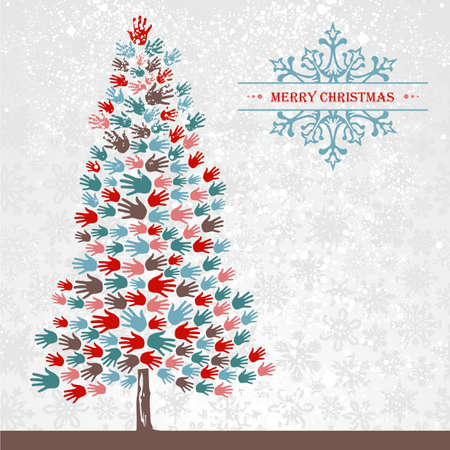 Diversity Christmas Tree hands background for greeting card  illustration layered for easy manipulation and custom coloring  Stock Vector - 16808726
