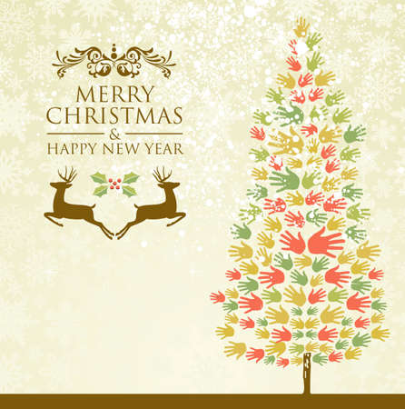 Diversity Merry Christmas and happy new year tree hands background for greeting card illustration layered for easy manipulation and custom coloring  Illustration