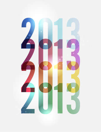 ordered: Contemporary happy New year 2013 colorful transparency background illustration, cleanly built grouped and ordered in layers for easy editing