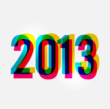cleanly: Contemporary happy New year 2013 colorful transparency composition illustration, cleanly built grouped and ordered in layers for easy editing