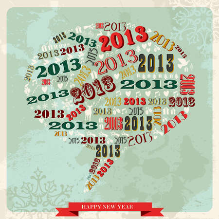 Vintage Happy New year 2013 concept numbers and xmas elements in speech bubble layered for easy manipulation and custom coloring  Vector