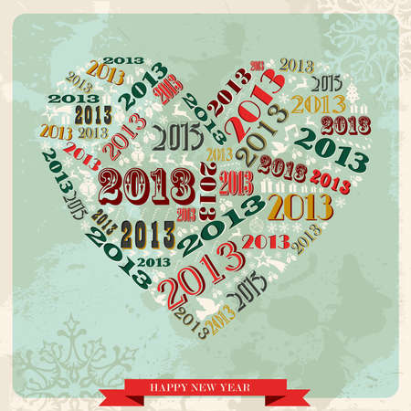 Vintage Happy New year 2013 concept numbers in love heart  illustration layered for easy manipulation and custom coloring  Vector