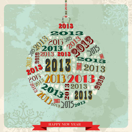 Vintage Happy New year 2013 concept numbers in bauble shape  illustration layered for easy manipulation and custom coloring Stock Vector - 16808727
