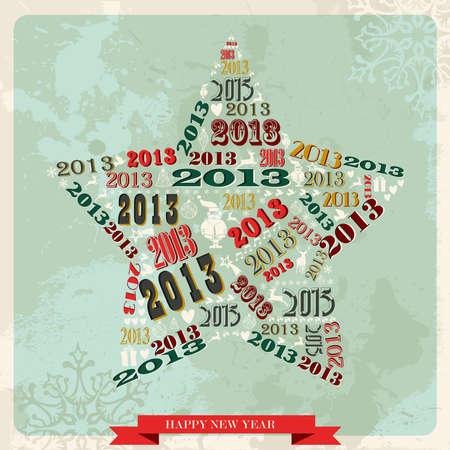 Vintage Happy New year 2013 concept numbers in star shape  illustration layered for easy manipulation and custom coloring Stock Vector - 16808811