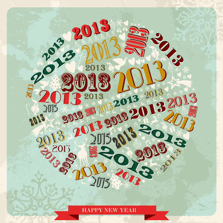 Vintage Happy New year 2013 concept numbers in circle shape  illustration layered for easy manipulation and custom coloring Stock Vector - 16808794