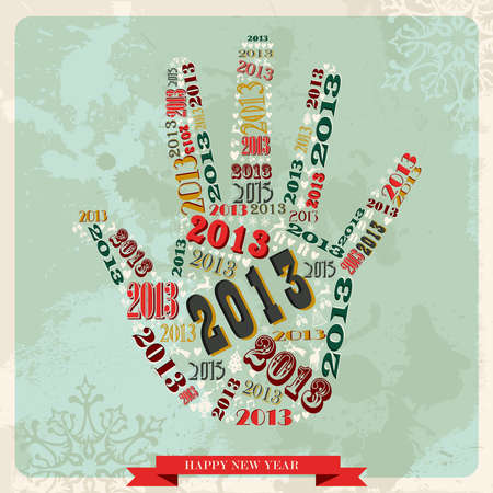 Vintage Happy New year 2013 concept numbers in hand shape  illustration layered for easy manipulation and custom coloring  Vector