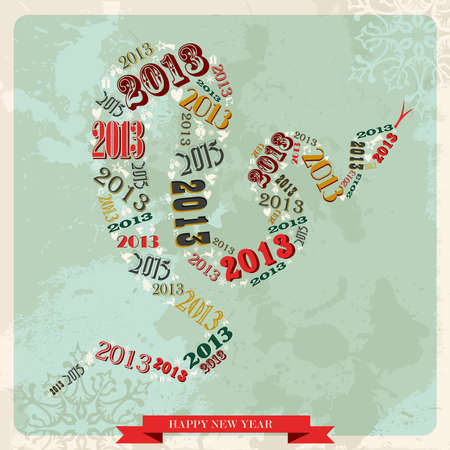 Vintage Happy New year 2013 concept numbers in snake shape  illustration layered for easy manipulation and custom coloring  Stock Vector - 16808725