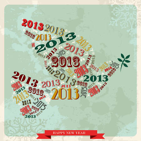 Vintage Happy New year 2013 concept numbers and xmas elements dove of peace illustration layered for easy manipulation and custom coloring Stock Vector - 16808793