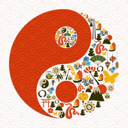 Chiński Nowy Rok Węża symbol yin yang ilustracji skład przekładane na łatwą manipulację i wybarwienia niestandardowej