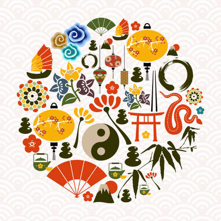Chinese New Year of the Snake icon set globe composition. illustration layered for easy manipulation and custom coloring. Vector