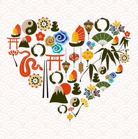 Chinese New Year of the Snake multicolored icon set composition heart. illustration layered for easy manipulation and custom coloring. Stock Vector - 16808711