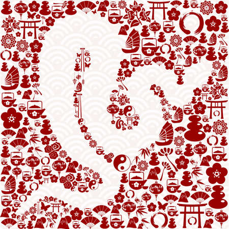 Chinese New Year of the Snake icon set composition background. illustration layered for easy manipulation and custom coloring. Stock Vector - 16808720