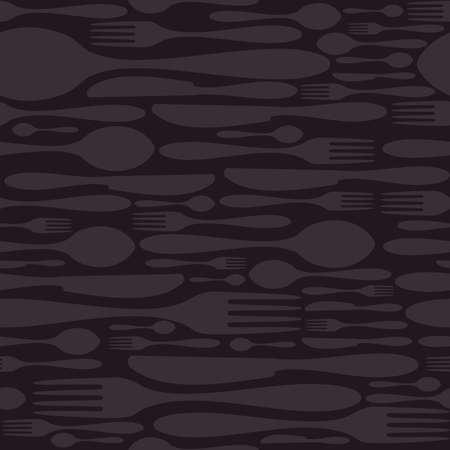 cubiertos de plata: Siluetas de cuchillería de Lujo icono seamless background Tenedor, cuchillo y cuchara presentar en capas para una fácil manipulación y personalización Vectores