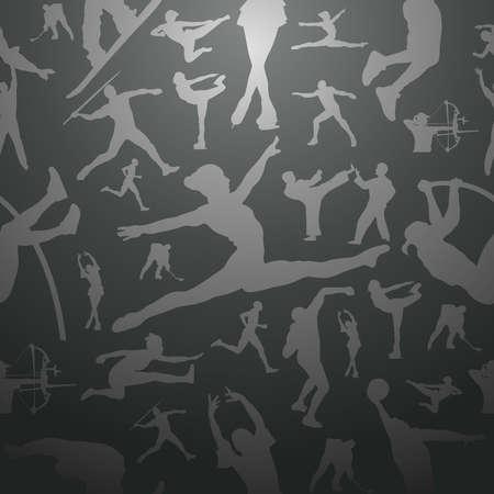 endlos: Sport-Figur Silhouetten in Aktion nahtlose Muster Hintergrund-Datei für einfache Handhabung und Anpassung geschichtet