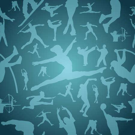 endlos: Sport-Figur Silhouetten in aktion blau nahtlose Muster Hintergrund-Datei für die einfache Manipulation und Anpassung geschichtet