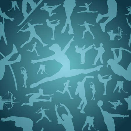 pentathlon: Sports figure silhouettes in action blue seamless pattern background  file layered for easy manipulation and customisation  Illustration