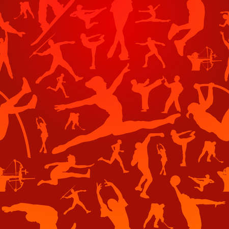pentathlon: Sports figure silhouettes in action seamless pattern background file layered for easy manipulation and customisation