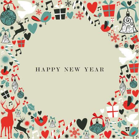 newyear: Iconos de Navidad decoraciones en 2013, ilustraci�n, feliz a�o nuevo fondo postal en capas para una f�cil manipulaci�n y colorante de encargo