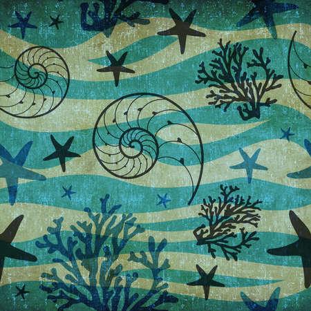 Retro sea shells and starfish marine seamless pattern background Stock Photo - 16878327