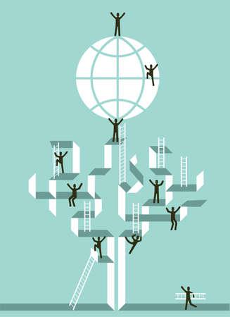 conquering adversity: Proactiva trabajo en equipo para el �xito global de negocios concepto de archivo Vector �rbol ilustraci�n en capas para una f�cil manipulaci�n y colorante de encargo Vectores