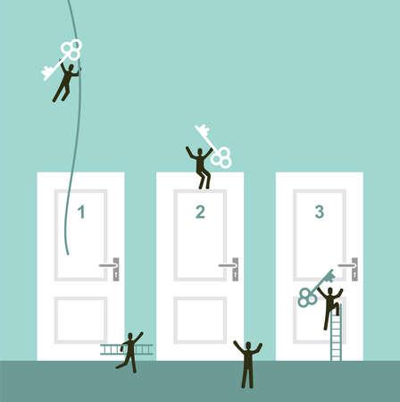 conquering adversity: Diferentes puertas a los negocios �xito ilustraci�n vectorial concepto de ilustraci�n en capas para una f�cil manipulaci�n y colorante de encargo