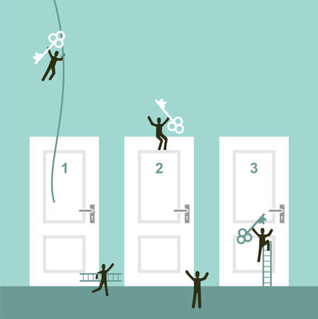 high up: Different doors to success business concept illustration  Vector illustration layered for easy manipulation and custom coloring  Illustration