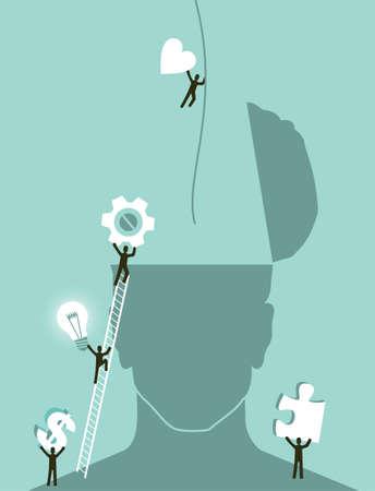 mente humana: La innovaci�n empresarial concepto de intercambio de ideas Vector ilustraci�n en capas para una f�cil manipulaci�n y colorante de encargo