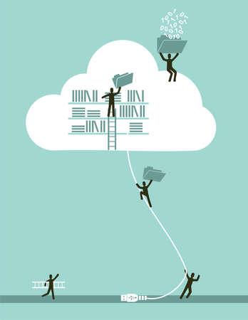 conquistando: El cloud computing concepto de negocio ilustration archivo vectorial en capas para una f�cil manipulaci�n y colorante de encargo