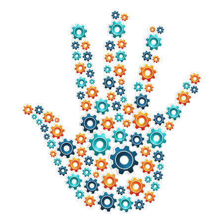 Technical cooperation concept hand shaped with gears  Vector illustration layered for easy manipulation and custom coloring  Vector