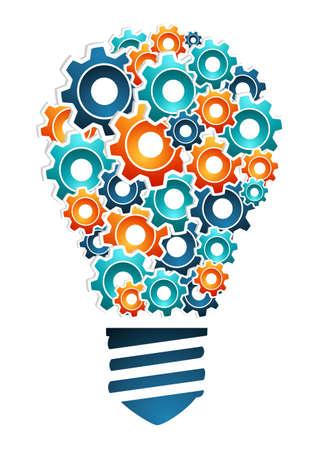 El diseño del producto concepto innovación luz bombilla en forma de ilustración multicolor con engranajes de máquinas de vectores iconos en capas para una fácil manipulación y colorante de encargo