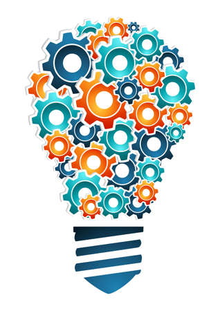 investigating: Product design innovation concept  bulb light shaped with multicolored machine gear icons  Vector illustration layered for easy manipulation and custom coloring