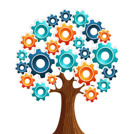 cog: Industrial innovation gears concept tree  Vector illustration layered for easy manipulation and custom coloring