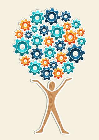 Man Zahnradmaschine Business Development Konzept Baum Vektor-Illustration für eine einfache Handhabung und individuelle Färbung geschichtet