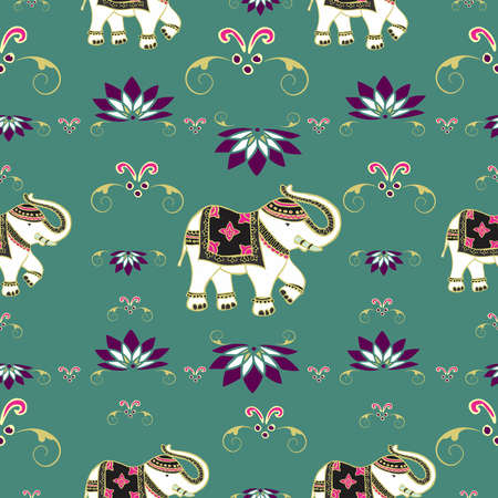 Traditional indian elephant decorated for special occasion pattern background . illustration layered for easy manipulation and custom coloring. Vector