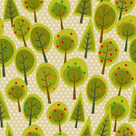 cute tree: Cute tree forest seamless pattern background. illustration layered for easy manipulation and custom coloring.