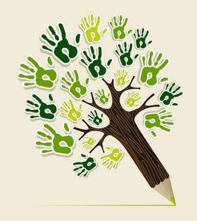 earth friendly: Eco amistoso �rbol manos l�piz concepto ilustraci�n archivo en capas para una f�cil manipulaci�n y colorante de encargo