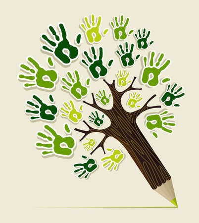 earth friendly: Eco friendly pencil tree hands concept illustration  file layered for easy manipulation and custom coloring