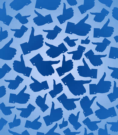 I Like it blue thumb up seamless pattern background  illustration layered for easy manipulation and custom coloring  Vector
