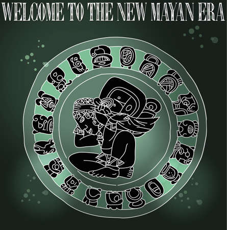 Welcome to the new Mayan age grunge background  illustration layered for easy manipulation and custom coloring Stock Vector - 16946556