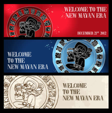 Welcome to the new Mayan age banner set  illustration layered for easy manipulation and custom coloring  Stock Vector - 16946559