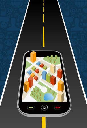 viaje de negocios: Geo posicional del sistema del dispositivo navegador con la ilustraci�n de fondo de la ciudad mapa en capas para una f�cil manipulaci�n y colorante de encargo